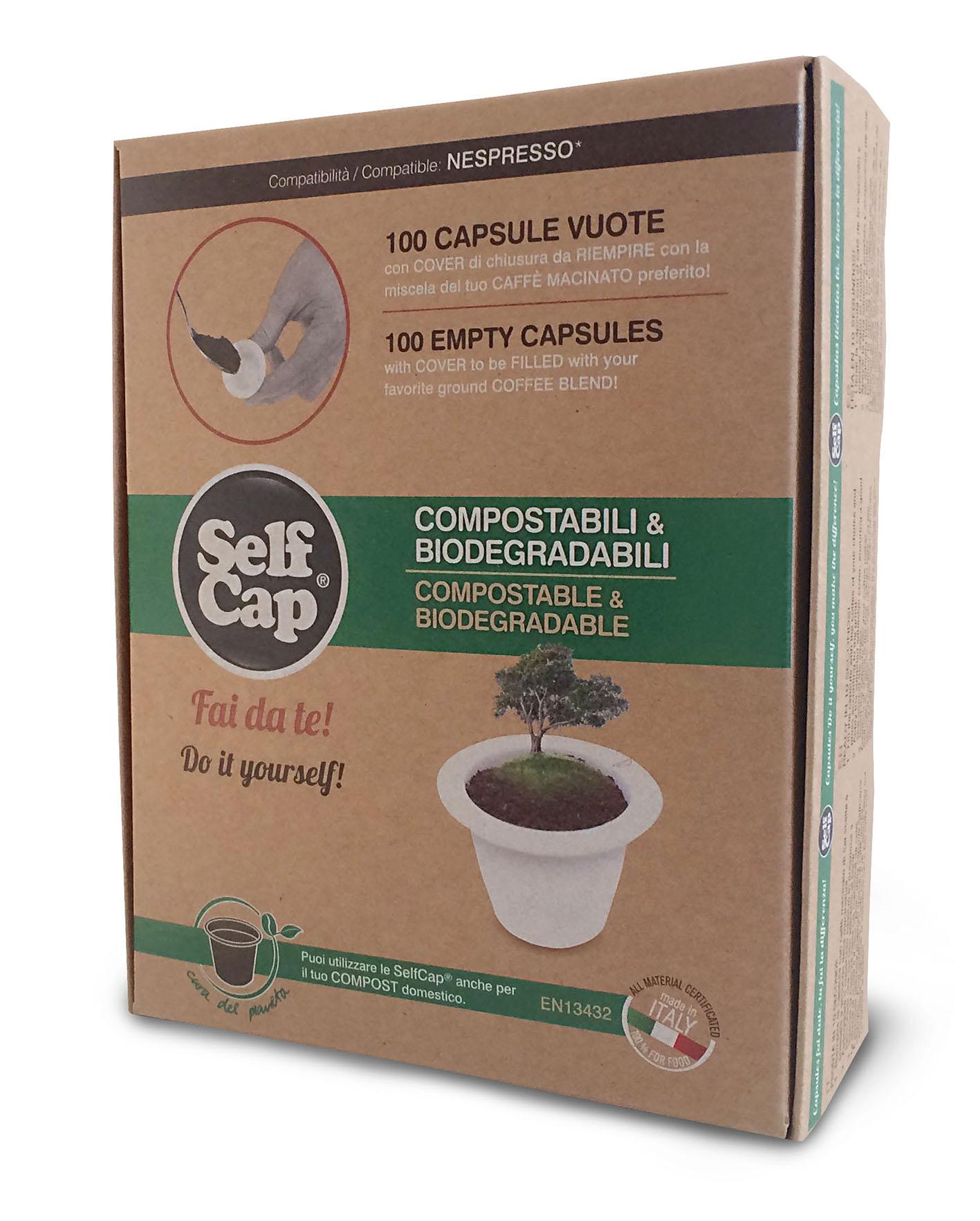 Selfcap 100 capsule compostabili e biodegradabili fai da for Porta capsule fai da te